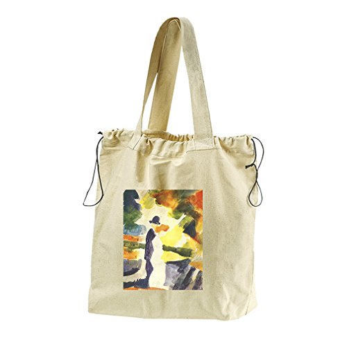 Couple In The Park (August Macke) Canvas Drawstring Beach Tote Bag by Style in Print