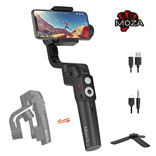 MOZA Mini-S Essential Foldable Phone Gimbal, Timelapse Object Tracking Zoom Vertigo Inception, 3-Axis Video Stabilizer for Smartphone Like iPhone Xs/Max/Xr/X/8/7/6 Plus Samsung Note 8/S8 Huawei (Best 6x9 Folding Camera)