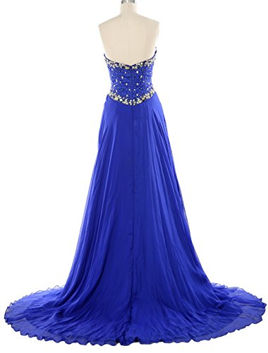 MACloth Women Strapless Prom Dress Crystals Chiffon Long Formal Evening Gown Marfil
