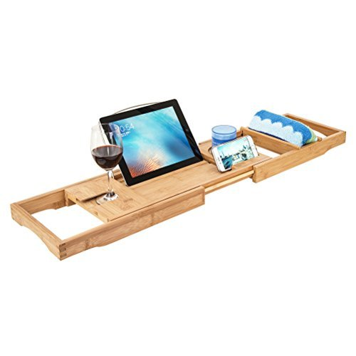 HBlife Bamboo Bathtub Caddy Shower Over Tub Tray Organizer with Extendable Sides, Cellphone Tray & Integrated Wineglass Holder