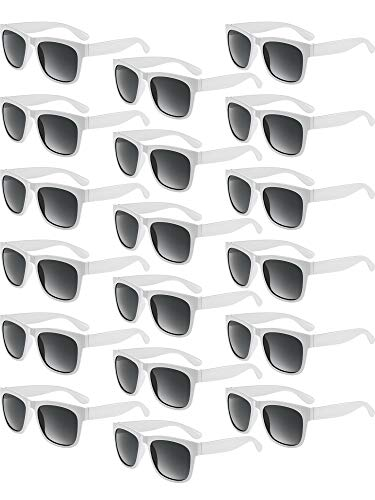 (Blulu 18 Pair Retro Sunglasses Party Plastic Thick Frame Sunglasses for Fun Gift Party Supply Party Toys Unisex (White))