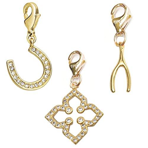 TFS Jewelry Clover, Horseshoe, Wishbone 14k Gold Over Brass Clip-On Charm Set