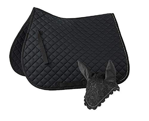 Horze Full Black Casual All Purpose Quilted English Crystal Saddle Pad and Ear Net