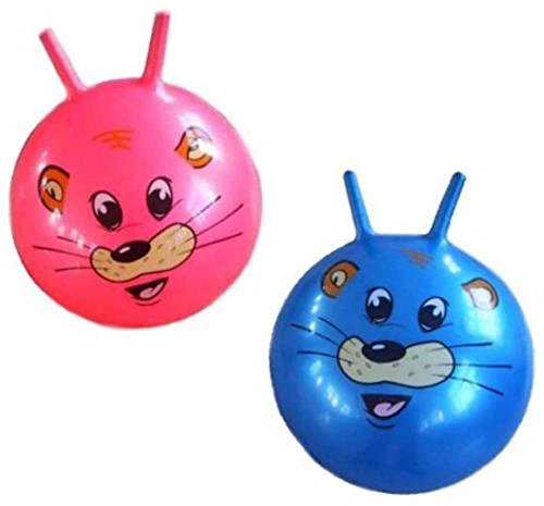 2 Giant Kids Hopping Ride on Cute Tiger Hop Bounce Ball with Handles – Animal Rideon Toy