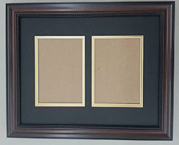 11x14 walnut brown beaded frame with black gold double picture mat for 2 5x7 pictures
