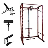 Best Fitness Power Rack Package 4 with LAT and Bench Plus Attachments