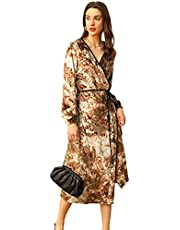 Zexxxy Womens Latern Sleeve Wrap V-Neck Dresses Long Elegant Evening Dress Printed Velvet Gown