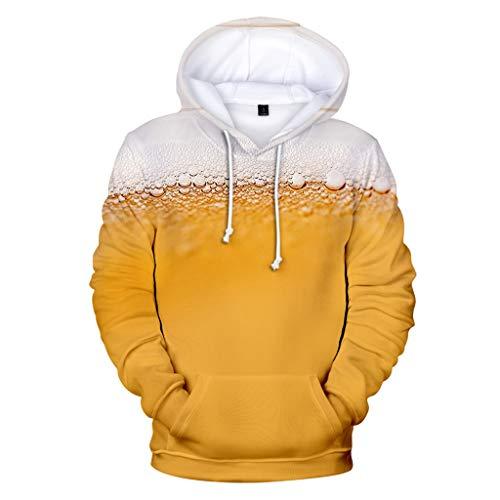 Men's Beer Festival 3D Printing Long Sleeve Hoodies Sweatershirt Tops Khaki