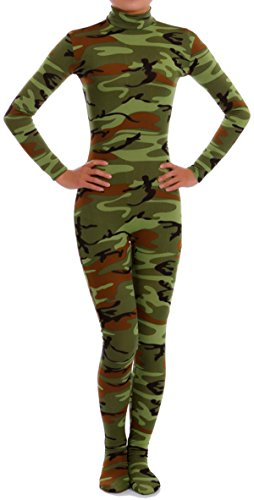 [VSVO Lycra Spandex Zentai Unitard Catsuit for Adults and Children (Large, Camo Green)] (Spandex Suits)