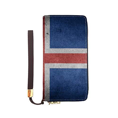 Iceland Flag Women Wallet Leather Zip Around Phone Clutch Large Travel Purse Wristlet