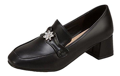 AllhqFashion Damen Blend-Materialien Ziehen auf Rund Zehe Mittler Absatz Rein Pumps Schuhe Schwarz