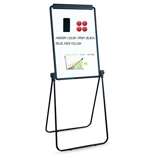 XIWODE Magnetic Easel-style Dry Erase Board, Flip Chart Black U-Stand Whiteboard, 36 x 24 Inch,Aluminum Framed, with Metal Clips and Eraser, Foldable White Board for School, Home, Office by XIWODE