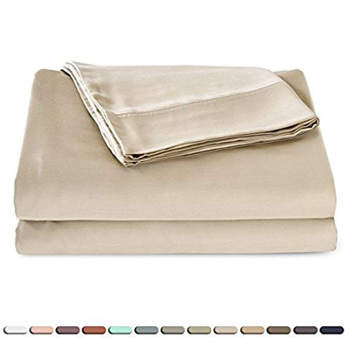 Satin Quality Silky Soft 100% Bamboo-Derived Rayon Bed Sheet Set 4 Pieces (1 Deep Pocket Fitted Sheet, 1 Flat Sheet, 2 Pillowcases) Hypoallergenic Breathable Durable Solid Bedding King Size Tan