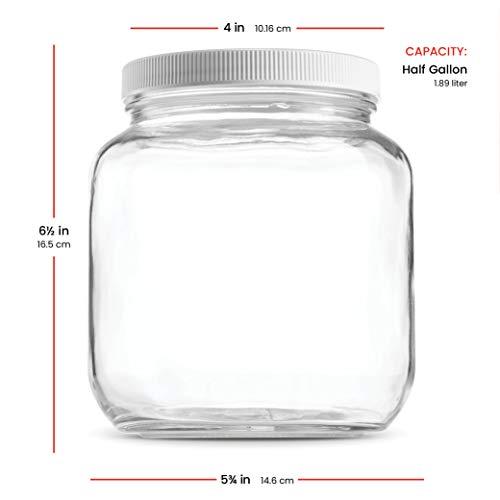 Half Gallon Glass Mason Jar (64 Oz - 2 Quart) - 4 Pack - Wide Mouth, Plastic Airtight Lid, USDA Approved BPA-Free Dishwasher Safe Canning Jar for Fermenting, Sun Tea, Kombucha, Dry Food Storage, Clear by Paksh Novelty (Image #6)