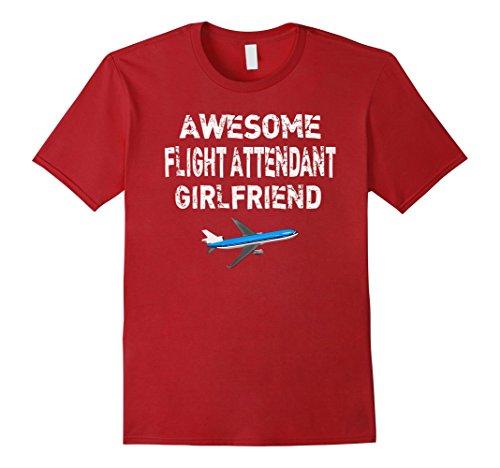 Red Air Hostess Costume (Mens Flight Attendant Girlfriend T Shirt Gift Air Hostess Shirt 2XL Cranberry)