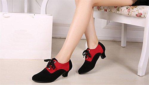 Staychicfashion Práctica Moderna Para Mujer Zapatos De Baile Social Botines Jazz De Tobillo Con Cordones Negro Rojo / Gamuza