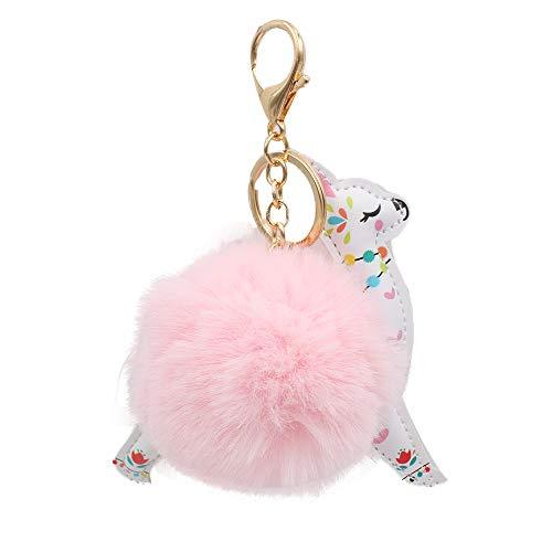 REAL SIC Alpaca/Llama Pom Pom Keychain - Faux Fur Fluffy Fuzzy Charm For Women & Girls. Fake Rabbit Key Ring for Backpacks, Purses, Bags or Gifts (Pink) (Key Fur Faux Ring)