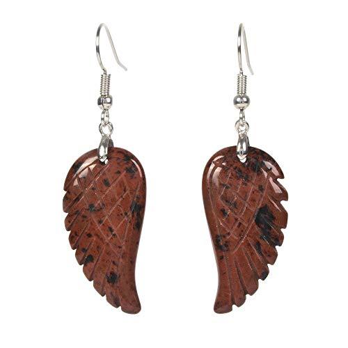 Natural Mahogany Obsidian Gemstone Crystal Healing Reiki Chakra Handmade Angel Wing Dangle Earrings