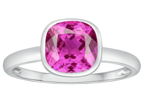 Tommaso Design 7mm Cushion Cut Created Pink Sapphire Engagement Solitaire Ring 10 kt White Gold Size 6