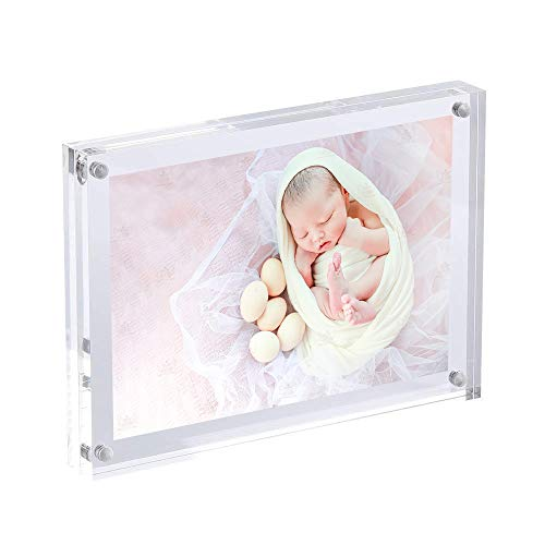 JLP Acrylic Picture Frame Magnetic Free Standing Clear Desktop Card Display Stand 20MM (3.5x5) -