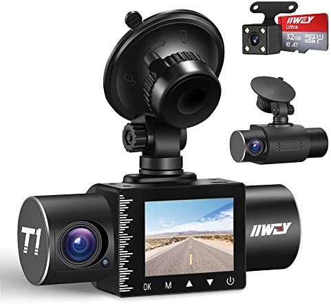 iiwey Dash Cam Front Rear and Inside 1080P Three Channels with IR Night Vision Car Camera SD Card Included Dashboard Camera Dashcam for Cars HDR Motion Detection and G-Sensor for Car, Taxi, Uber