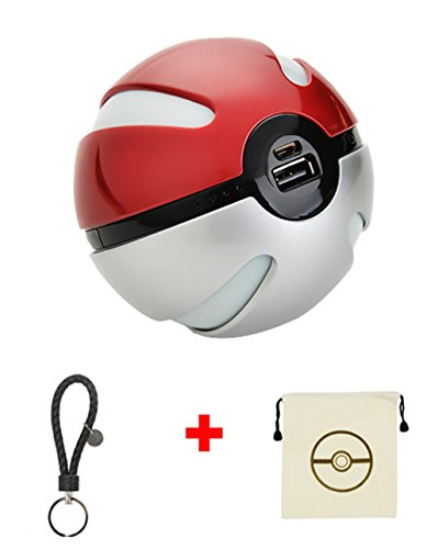 BKING-BOX Pokemon Go 10000mAh Power Bank USB Dual Battery Poke Ball Travel Portable Charger With LED Light for Phone and Keychain +Small Pokeball Drawstring Bag