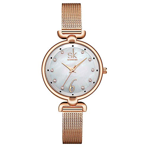 - SHENGKE Simplicity Creative Women Watch Elegant Mesh Band Women Watches Lady Casual Wristwatch (K0002-Rosegold)
