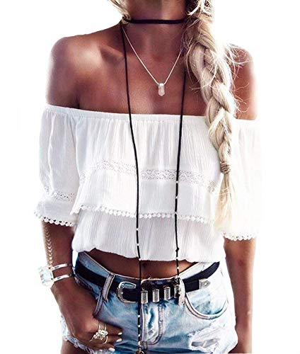 (Womens Summer Short Sleeve Casual Tee Shirts Chiffon Strapless Blouses and Tops (M, White-Biege))