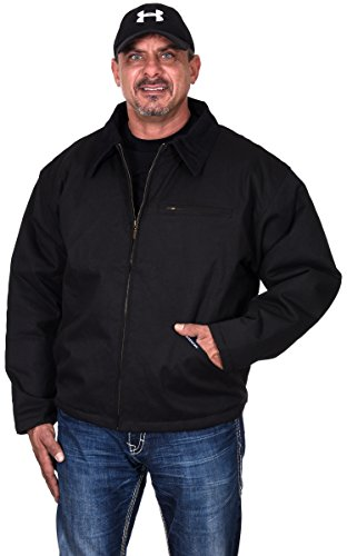Renegade Men's Rugged Duck Cotton Work Jacket with Quilted Lining in Brown or Black (Black, X-Large)