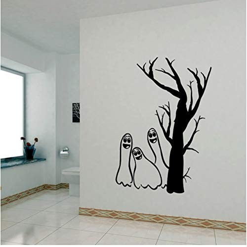 LJLQ Happy Halloween Wall Sticker Spooky Cemetery Tomb Wall Decals Window Stickers -