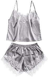 ZAFUL Women's Sleepwear Lace Panel Satin Cami and Shorts Spaghetti Strap Silky Pajama Set Lounge