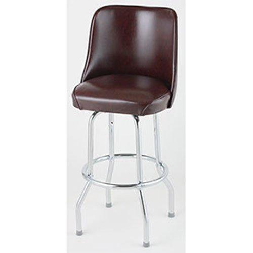 (Bucket Seat Bar Stool, Single Ring Chrome Frame,(ROY 7721 BRN)2 KD Brown, Royal Industries)