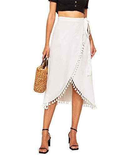 Verdusa Women's Waist Knot Heart Print Asymmetrical Wrap Split Skirt White S