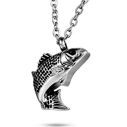 FCZDQ Lucky Fish Cremation Jewelry Carp Ashes Necklace Urn Pendant Memorial (Small Fish Pendant)