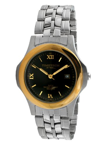 Sub Mariner Date Watch (Timetech Steel 3608M Men's Two-Tone Black Dial Bracelet Watch)
