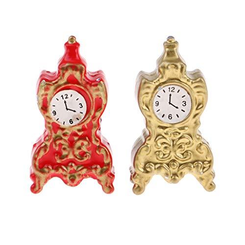 Fenteer Vintage 1/12 Scale Miniature Antique Bronze Metal Alarm Clock Dollhouse Ornament (Clock Scale Alarm)