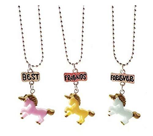 Tmrow 3 Packs Best Friends Forever Unicorn Pendant Friendship Necklace Set for Girls Kids Children