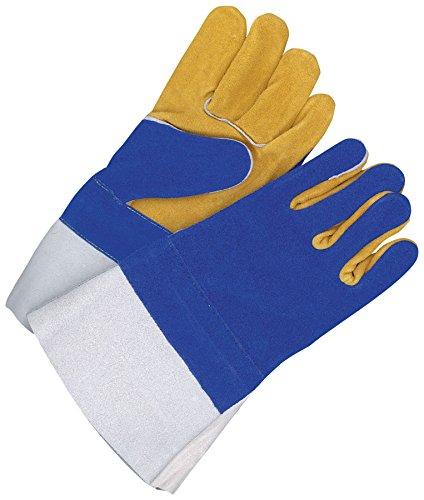 Bob Dale Gloves 601887L Welding Glove Split Leather Gauntlet Kevlar Sewn Blue//Gold,