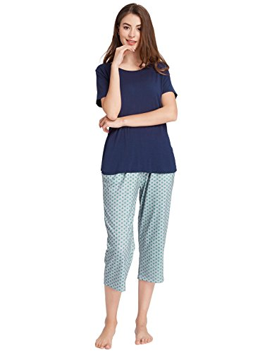 ajama Lightweight Lounge Set for Summer Navy Blue Size M (Cotton Capri Set)