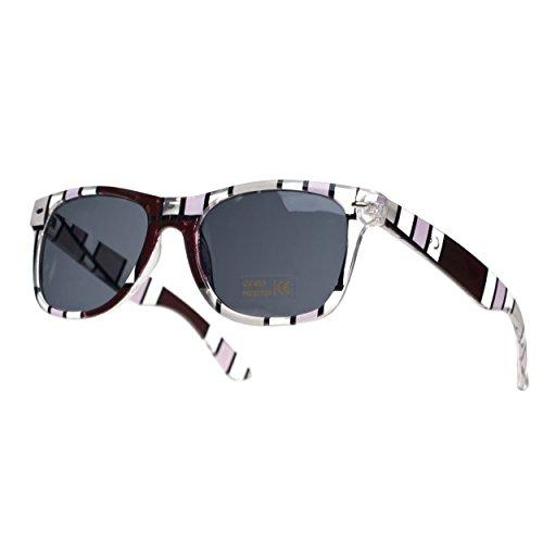 para mujer y retro originales hombre a rayas Gafas de sol marron WpfTFOO7