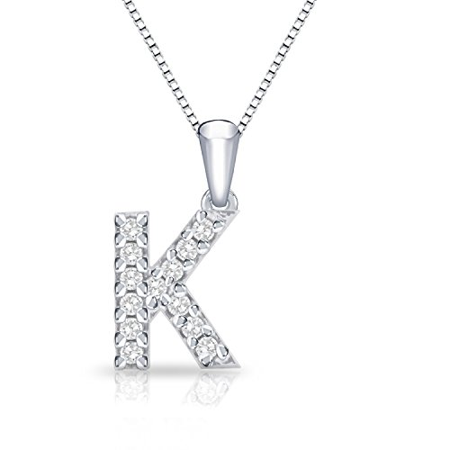 Diamond Initial K Pendant Necklace in 14k White Gold (1/10 cttw) 18
