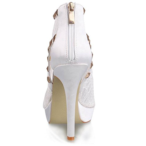 5 Womens Heel Minishion Bridal White Sandals High Party Wedding GYTH13139 Shoes Zip Evening Boots Toe Peep Floral Sequin US Ankle Stiletto 6 Lace qBBIw5p