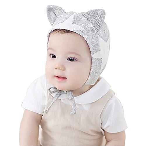 AMA(TM) Newborn Baby Girls Boys Cute Soft Cotton Beret Beanie Hat Cap (Gray)