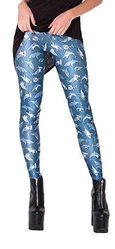 QZUnique Women's Dangerous Sharks Digital Print Ankle Length Elastic Sexy Leggings,Dangerous Sharks,One Size