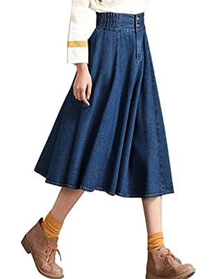 Tanming Women's Elastic Waist A-Line Pleated Midi Denim Skirt