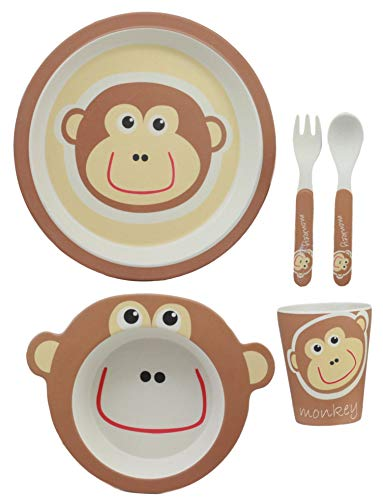- Ebros Whimsical Jungle George Monkey 5 Piece Dinnerware Set For Kids Children Toddler Baby Made Of BPA Free Eco Friendly Organic Bamboo Fiber Fork Spoon Plate Bowl And Cup Ideal Baby Shower Gift