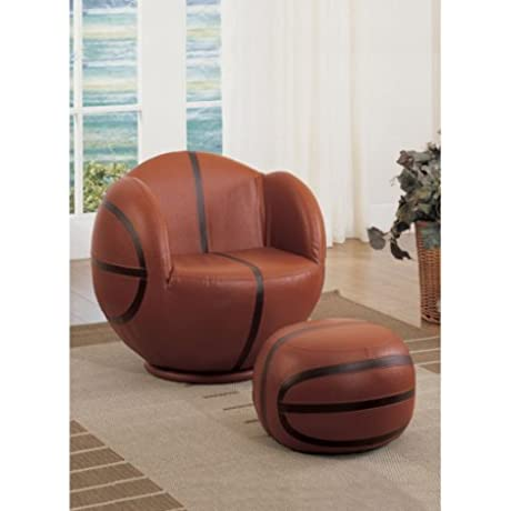 Basketball Chair And Ottoman Set Comfortable Seat 2 Piece Set Foam Filling Wood Frame Relaxing Basketball Theme Lounge Seating Children Room Bedroom Living Room Expert Guide