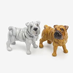 Shar Pei Dog Ceramic Figurine Salt Pepper Shaker 00015 Ceramic Handmade Dog Lover Gift Collectible Home Decor Art and Crafts