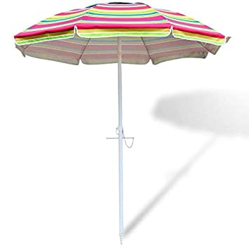 Snail 6.5 feet Beach Umbrella Silver Coating Inside Sun ray Protection UPF50 Fiberglass Ribs with Integrated Sand Anchor,Include Carry Bag,Yellow,Blue,Multi-Color