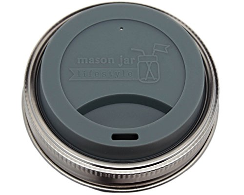 MJL Silicone Drinking Lids with Stainless Steel Bands for Mason Jars (2 Pack, Charcoal Gray, Wide Mouth)